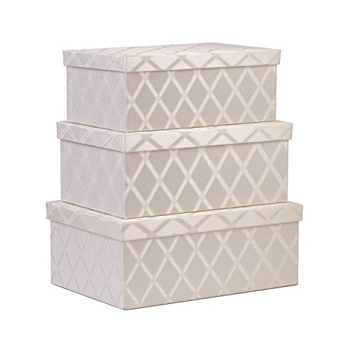 Creative Scents Storage Box Set, 3-Pcs, Gaillana, Fabric Lidded Shelf-Storage Bin Closet Organizer Box-Basket -Stylish Storage-Solutions for Living Rooms, Bedrooms, Bathrooms, Guest Rooms & Offices