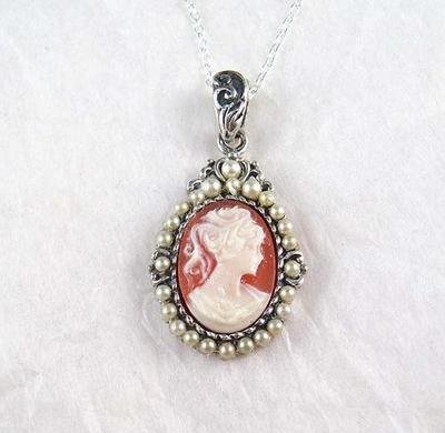 Pearls and Coral Cameo Necklace