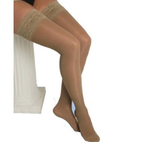 Graduated Compression Thigh Highs 20-30 mmHg  (Sheer with Lace Top and Silicone Band) - Medium, Nude