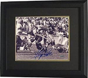 Floyd Little signed Syracuse Orange B&W 8X10 Photo Custom Framed- Steiner...