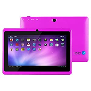 Alldaymall® A88X 7'' Quad Core Google Android 4.4 KitKat Tablet PC MID, Dual Camera, HD 1024x600 Capacitive Multi-touch Screen, 8GB Nand Flash, Google Play Pre-load, 3D Game Supported (Advanced version of A88) Purple