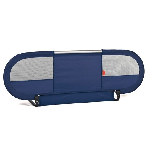 BabyHome-Side-Baby-Bed-Rail-Nursery-Safety-Rail-Mesh-w-Straps-NavyBlue