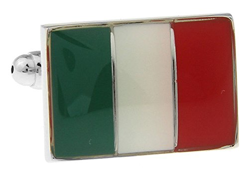 Mens Executive Cufflinks Enamel Flags Around the World Italy Italian European Travels Cuff Links (Italian Flag Cufflinks compare prices)