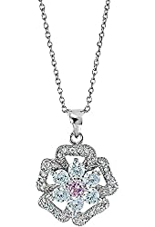 Sterling Silver Round Pink Cubic Zirconia Floral Pendant Necklace 18 Inches Silver Chain SPJ