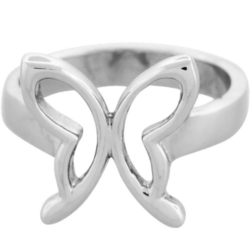Size 8- Inox Jewelry Women's 316L Stainless Steel Butterfly Ring