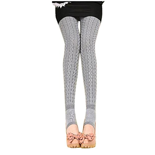Gotd Girl Women Cotton Tights Leggings Stirrup Pants (Gray)