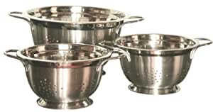 Gourmet Chef Professional 8-Quart Heavy Duty Stainless Steel German Colander with Wire Handles