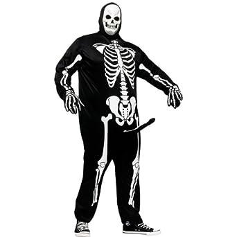 FunWorld Men's Skeleboner Plus Size Adult Costume, White/Black, Plus Size Costume