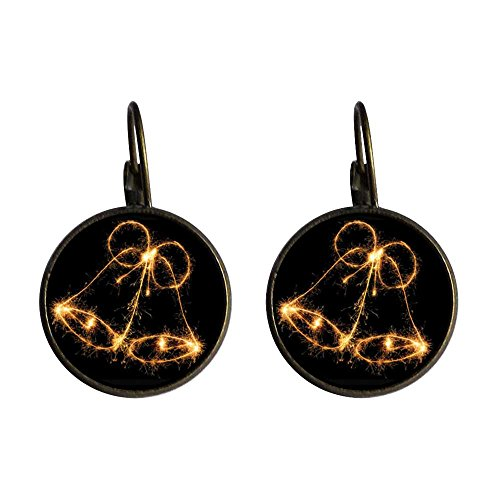 Giftjewelryshop Bronze Retro Style Shinning Golden Bell Photo Dangle Leverback Earrings 12Mm Diameter