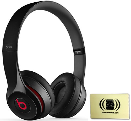 Beats By Dr. Dre Solo 2.0 On-Ear Headphones (Black) Bundle With Zorro Sounds Custom Designed Polishing Cloth