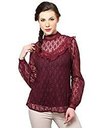 XnY High Neck Wine Lace Top