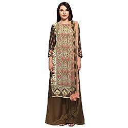Bhelpuri Women Beige Crepe Dress Material