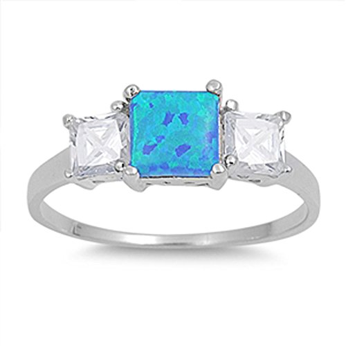 Sterling Silver Woman'S Clear Cz Blue Fire Ring Unique Comfort Fit 925 Band 7Mm Size 10 Valentines Day Gift