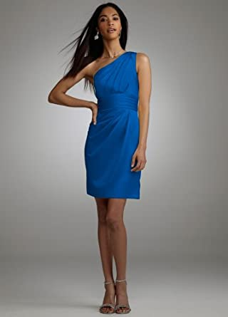 One Shoulder Satin Dress with Pleated Bodice Horizon, 4