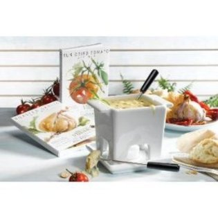 Gourmet du Village Cheese Fondue Maker for Two Cranberry