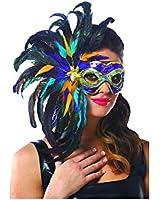 Multi Color Mardi Gras Feather Mask