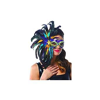 Amazon.com: Mardi Gras Feather Mask: Costumes: Clothing - photo #42