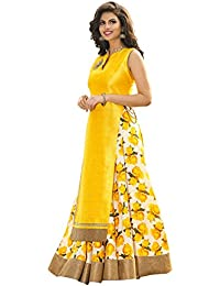 Clickedia Women's Heavy Banglory Silk Semi-stitched Yellow Floor Length Anarkali Suit - Dress Material