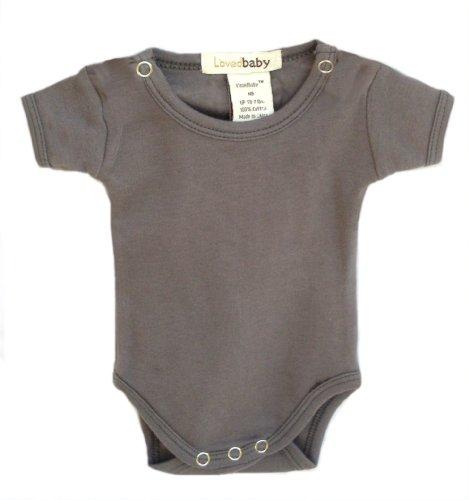 L'Ovedbaby Short-Sleeve Bodysuit, Gray Newborn front-814664