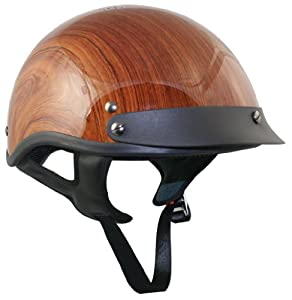 DOT Outlaw Brown Wood Grain Half Helmet - Small