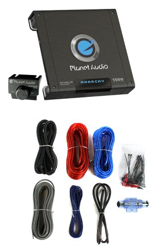 Planet Audio Ac1500.1M 1500W Mono Car Audio Amplifier Amp Ac15001M+8 Ga Amp Kit