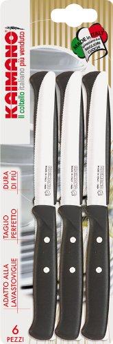 Kaimano kpm011106n 6 coltelli premium tavola lama dentata for Coltelli da tavola opinel