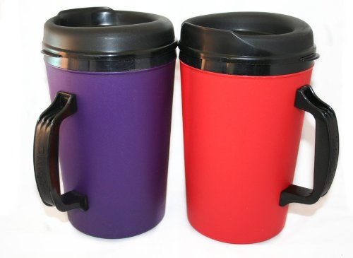2 Thermoserv Foam Insulated Coffee Mugs 34 Oz (1) Purple & (1) Red