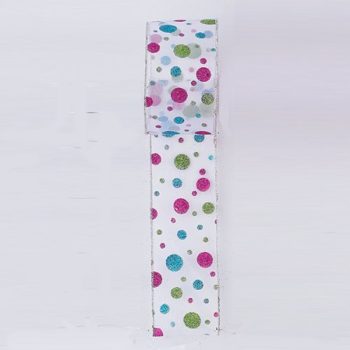 Sheer Multi-Colored Polka Dot Wired Holiday Craft 