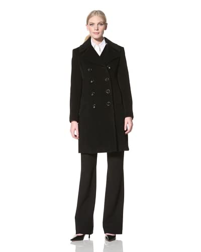 Jones New York Women's Double-Breasted Textured Coat  - Black