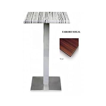 Mesa alta cuadrada de acero y tapa nogal