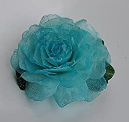 New Sweet Fashion Flower Light Blue Rose Handmade Fish Scale Glitter Brooch Pin Hair Clip Accessory