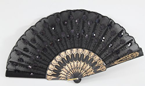 Chinese Japanese Silk Lace Floral Butterfly Wooden Cat Paper Folding Hand Pocket Fans & Stand (D13425-1) (Butterfly Hand Fan compare prices)
