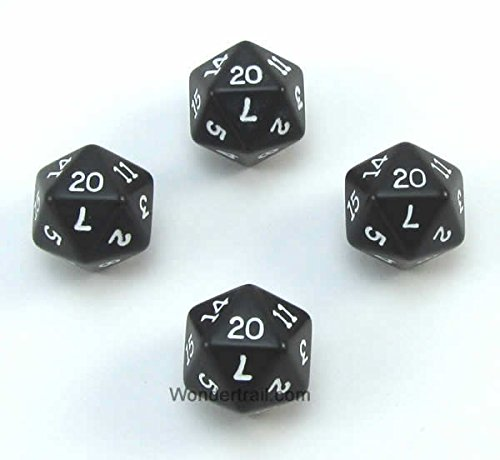 Review Of WKP02813E4 Black Opaque Dice with White Numbers D20 16mm (5/8in) Pack of 4 Dice Koplow Gam...