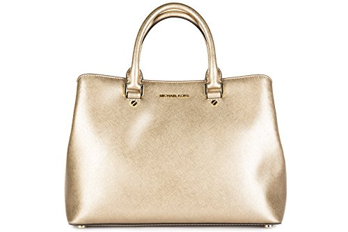 Michael Kors borsa donna a mano shopping in pelle nuova savannah oro
