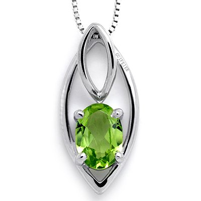 100% Genuine Chrysolite Peridot 925 Silver White Gold Plating Necklace Gem Fine Jewellery 18inch Singapore Chain