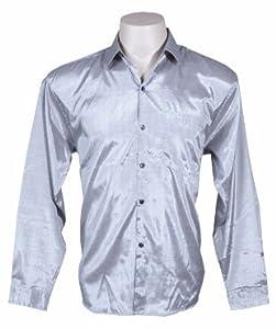Men's Thai Silk Shirt Long Sleeved / Sleeves in Silver Size XXL