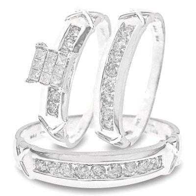 7/8 Carat T.W. Round, Princess Cut Diamond Wedding Band Set 14K White Gold Three Ring - Ladies Engagement Ring, Wedding Band & Mens Wedding Band - Free Gift Box -