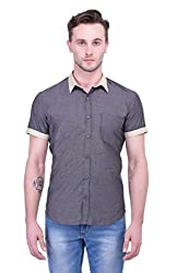 Trendster Grey Solids Half Sleeve Casual Men's Shirt