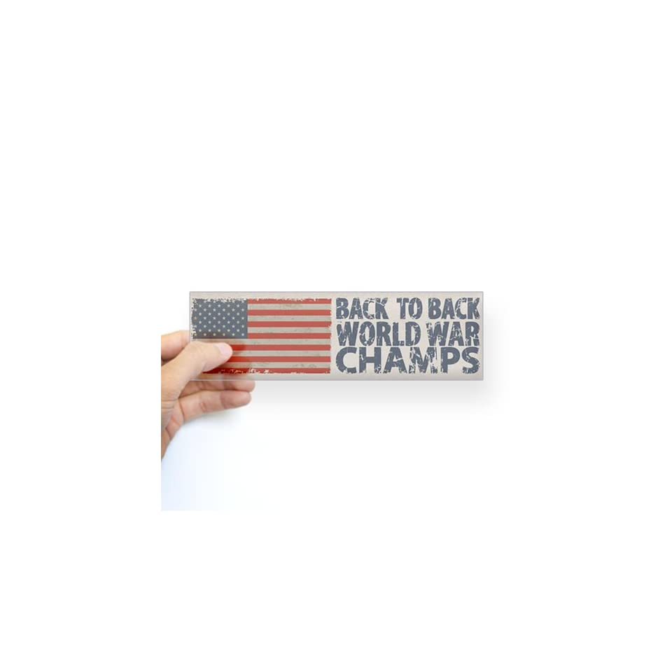 USA, Back to Back World War Champions Sticker Bum Sticker Bumper   Standard Clear