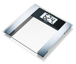 Beurer BG17 - Báscula diagnóstica de cristal, pantalla LCD extragrande (40 mm), indicador grasa y agua corporal, masa osea y muscular, color negro