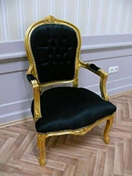 baroque armchair carved leaved gold black velour velvet
