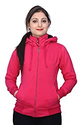 Romano Womens Beautiful Look Pink Winter Hoodie Sweatshirt Fleece Jacket