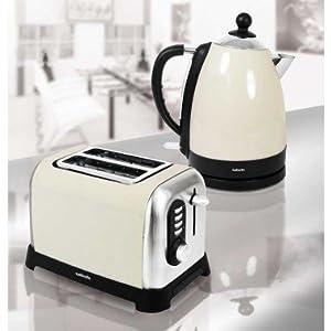 Sabichi cream fast quick rapid boil kettle 2 slice for Kitchen set kettle toaster