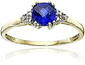 10k Yellow Gold, September Birthstone, Created Blue Sapphire and Diamond-Accent Ring, Size 7 by Amazon Curated Collection