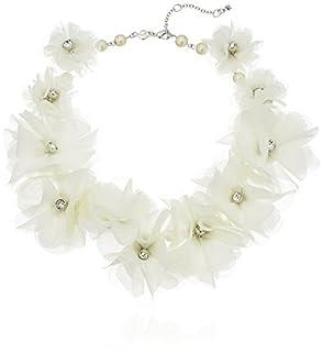 Carolee Botanical Garden Fabric-Flower Collar Necklace, 16