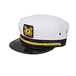 Imported Fashion Yacht Captain Skipper Sailor Boat Ship Hat Cap Costume Party WHITE