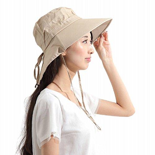 N-hilfe つば広タイプ UVカット帽子 レディース フリー あご紐 リボン (ベージュ)