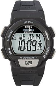 Timex Men's T5K170 Ironman Traditional 10-Lap Black Resin Strap Watch