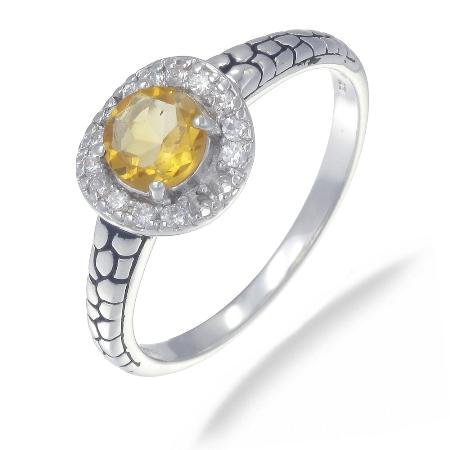 6MM Citrine Ring In Sterling Silver 3/4 CT In Size 6 (Available In Sizes 5  9) Picture