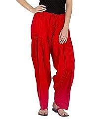 Guruji Creations Women's Cotton Patiala(GJC-Pat-004_Red_Free Size)